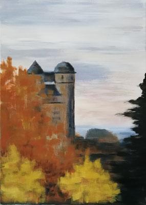 Burg Greifenstein im Herbst, Acryl auf Leinwand 50x70, 320,-€