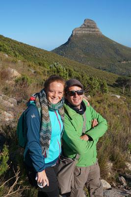 Blick auf den Lions Head von der Wanderung auf den Tafelberg