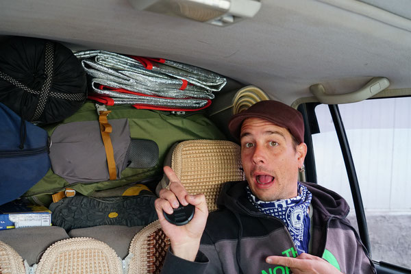 Unsere Tour beginnt, das Auto ist bis oben gefüllt...