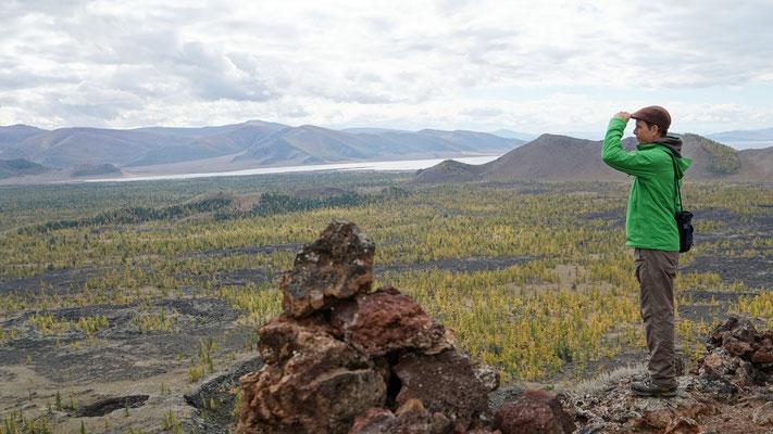 Blick vom Khorgo-Vulkan zum White Lake