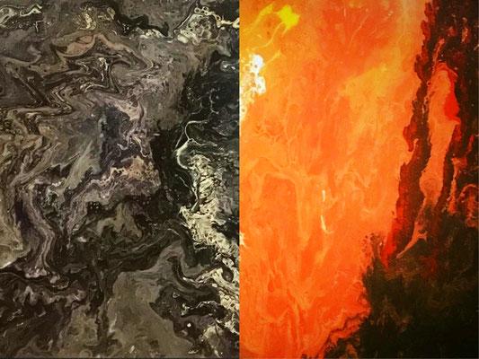 Serie Fluid Painting. Conjunto de 2 obras. Cada una de 25 x 30. Sin enmarcar. 75 € + 10 € envío.