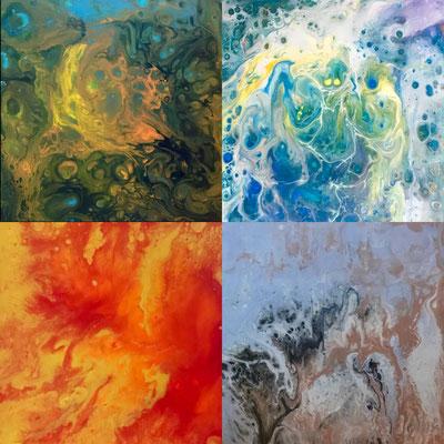 Serie Fluid Painting. Conjunto de 4 obras. Cada una de 20 x 20. Sin enmarcar. 100 € + 10 € envío.