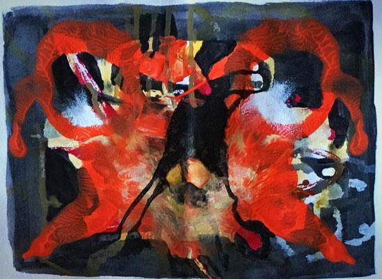 Abstracto en rojo I. Técnica: Mixta. Medidas: 21 x 29. Enmarcada. 150 €. Envío gratis.