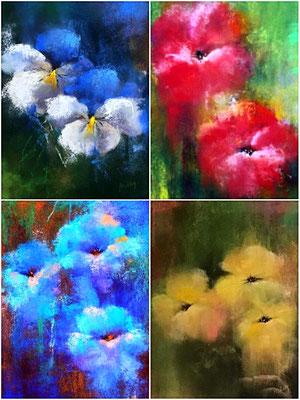 Conjunto de 4 obras. Técnica: Pastel. cada una mide 21,5 x 15. Enmarcadas. 150 €