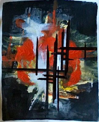 Abstracto en rojo III. Técnica: Mixta. Medidas: 21 x 29. Enmarcada. 150 €. Envío gratis.