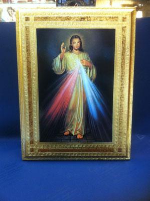 16g - Quadro Gesù Misericordioso litografia su tavola fiorentina con cornice