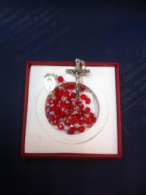 14g- Rosario del Giubileo in cristallo Swarosky crociera con Gesù Misericordioso e Papa Francesco