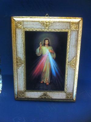 7g- Quadro Gesù Misericordioso su tavola fiorentina con cornice dipinta litografato