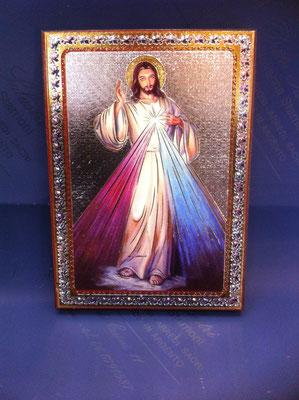 1g-  Quadro Gesù Misericordioso su tavola fiorentina litografato