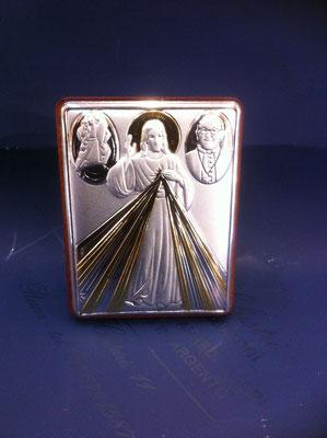 10g- Quadretto da poggiare con Gesù Misericordioso Papa Francesco e logo del giubileo
