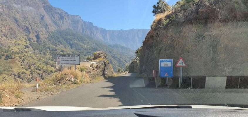 Einfahrt in den Nationalpark Caldera de Taburiente