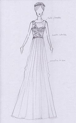 dessin-robe-de-mariee-fluide-soie-forme-A-grenoble