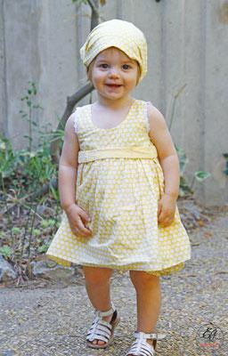 tenue-de-baptême-republicain-unique-coton-jaune-pois-blancs-style-rétro-creation-emmanuelle-gervy-grenoble