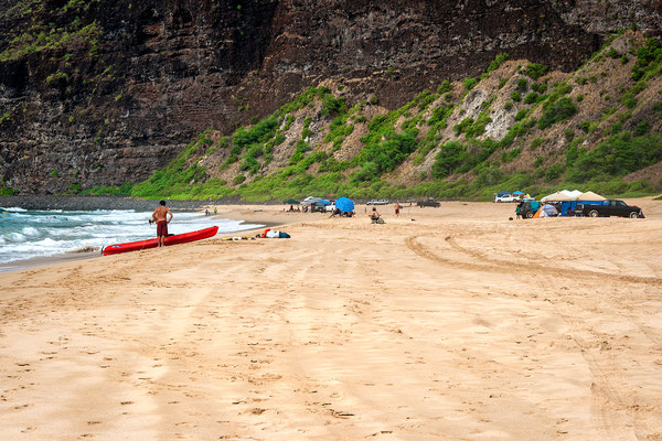 Kauai: Polihale State Park: Reaching the End of Barking Sands Beach