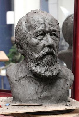 Buste, Soljenistyne, buste créé d'après photos, sculpteur Langloÿs