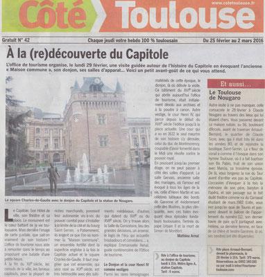 Article Côté Toulouse, presse,  sculpteur Langloÿs