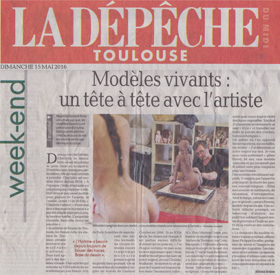 Article La Dépêche, presse, modèle vivant, sculpteur Langloÿs