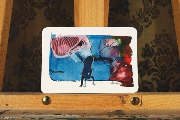 Litte Creatures No. 25 | 2020 | Mischtechnik auf Aquarellpapier | 10,8 x 14, 5 cm