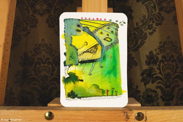 Litte Creatures No. 32 | 2021 | Mischtechnik auf Aquarellpapier | 14, 6 x 10,7 cm