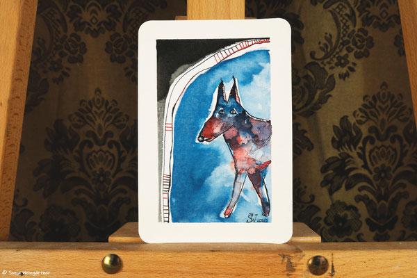Litte Creatures No. 26 | 2020 | Mischtechnik auf Aquarellpapier | 10,8 x 14, 5 cm