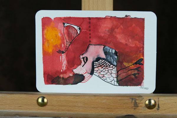 Little Creatures No. 7 (verkauft)   2020   Mischtechnik auf Aquarellpapier   10,8 x 14, 5 cm