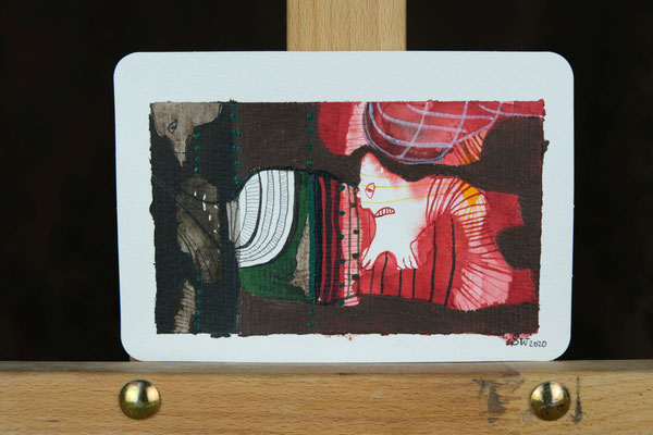 Litte Creatures No. 13 | 2020 | Mischtechnik auf Aquarellpapier | 10,8 x 14, 5 cm