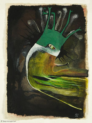 Grünes Wesen | 2019 |  Gouache und Tusche | 29,5 x 21 cm