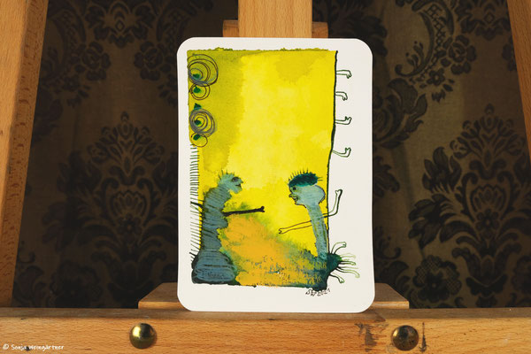 Litte Creatures No. 35   2021   Mischtechnik auf Aquarellpapier  14, 6 x 10,7 cm