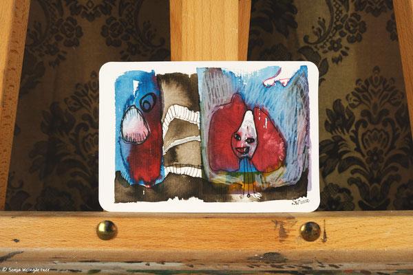 Litte Creatures No. 24 | 2020 | Mischtechnik auf Aquarellpapier | 10,8 x 14, 5 cm