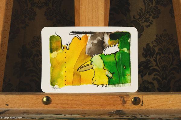 Litte Creatures No. 22 | 2020 | Mischtechnik auf Aquarellpapier | 10,7 x 14, 6 cm