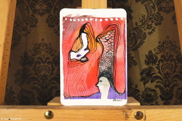Litte Creatures No. 29 | 2021 | Mischtechnik auf Aquarellpapier | 14, 6 x 10,7 cm