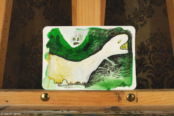 Litte Creatures No.  19 | 2020 | Mischtechnik auf Aquarellpapier | 10,8 x 14, 5 cm