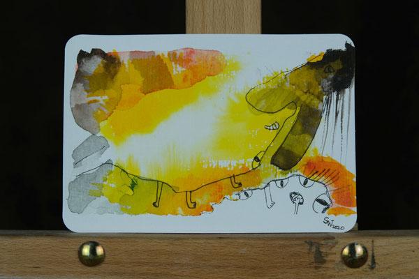 Little Creatures No. 2 (verkauft)  | 2020 | Mischtechnik auf Aquarellpapier | 10,8 x 14, 5 cm