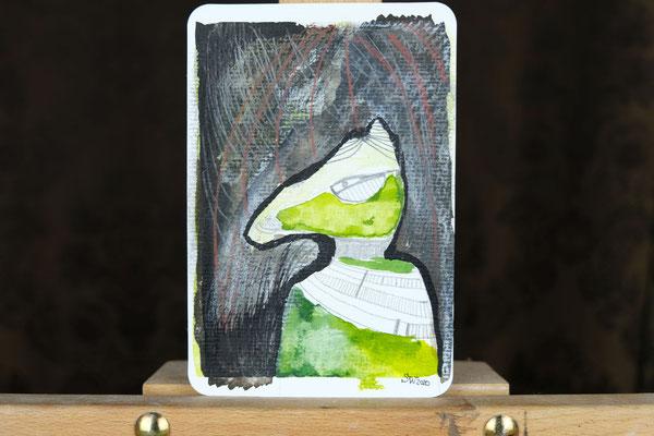 Litte Creatures No. 14 | 2020 | Mischtechnik auf Aquarellpapier | 10,8 x 14, 5 cm