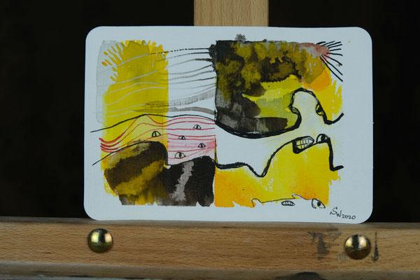 Little Creatures No .5 | 2020 | Mischtechnik auf Aquarellpapier | 10,8 x 14, 5 cm