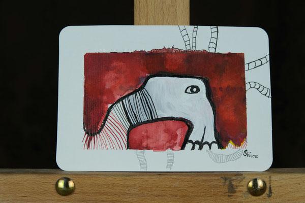 Little Creatures No. 8 | 2020 | Mischtechnik auf Aquarellpapier | 10,8 x 14, 5 cm