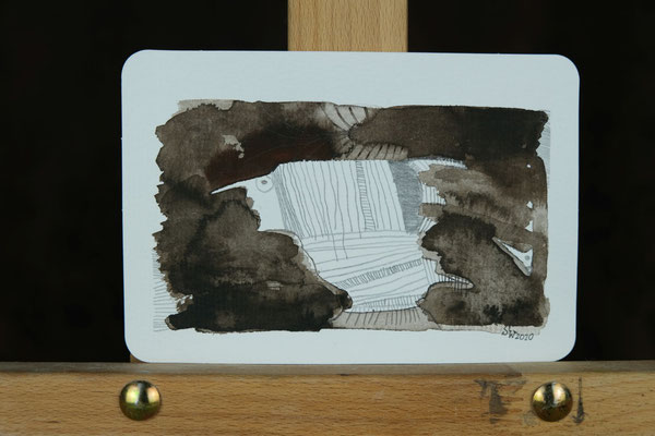 Litte Creatures No. 16 | 2020 | Mischtechnik auf Aquarellpapier | 10,8 x 14, 5 cm