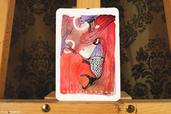 Litte Creatures No. 28 (verkauft)   2021   Mischtechnik auf Aquarellpapier   10,8 x 14, 5 cm