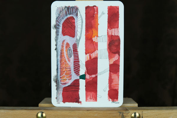Litte Creatures No. 12 | 2020 | Mischtechnik auf Aquarellpapier | 14, 5 x 10,8 cm