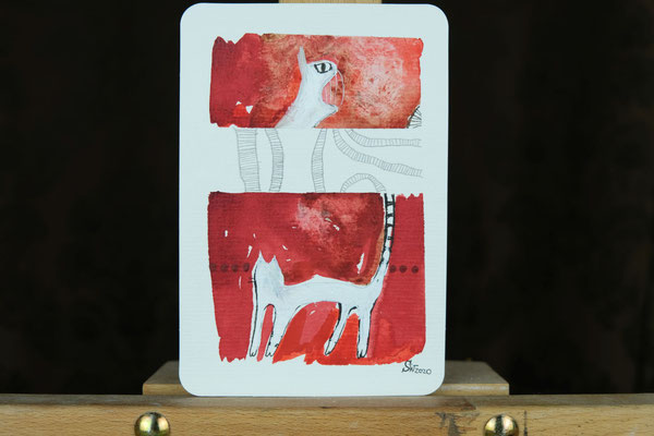 Litte Creatures No. 11 | 2020 | Mischtechnik auf Aquarellpapier | 14, 5 x 10,8 cm