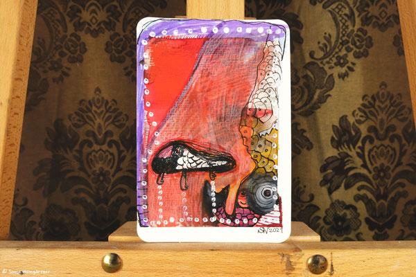 Litte Creatures No. 27 | 2021 | Mischtechnik auf Aquarellpapier | 14, 6 x 10,7 cm
