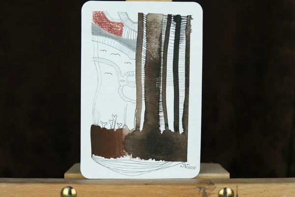 Litte Creatures No. 17 | 2020 | Mischtechnik auf Aquarellpapier | 14, 5 x 10,8 cm