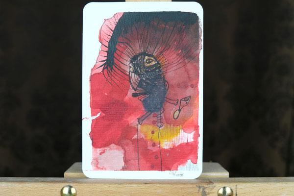 Litte Creatures No. 10 | 2020 | Mischtechnik auf Aquarellpapier | 14, 5 x 10,8 cm