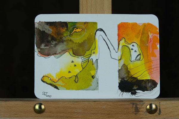 Little Creautures  No. 4 | 2020 | Mischtechnik auf Aquarellpapier | 10,8 x 14, 5 cm