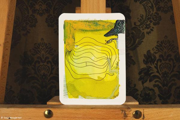 Litte Creatures No. 31 | 2021 | Mischtechnik auf Aquarellpapier | 14, 6 x 10,7 cm