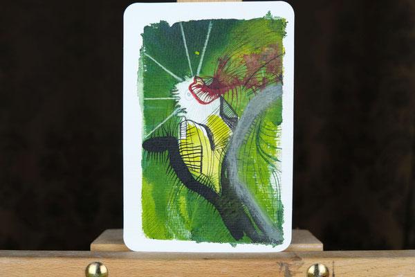 Litte Creatures No. 15 | 2020 | Mischtechnik auf Aquarellpapier | 14, 5 x 10,8 cm