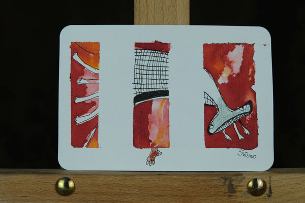 Litte Creatures No. 9 | 2020 | Mischtechnik auf Aquarellpapier | 10,8 x 14, 5 cm