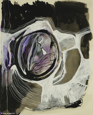 Katzen im violetten Nebel | 2018 | Mischtechnik | 40 x 30cm
