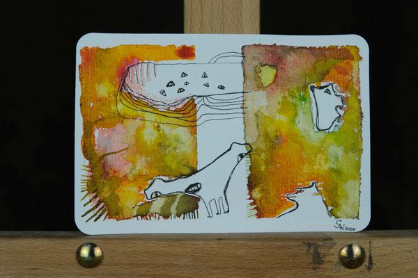 Little Creautres No. 6 | 2020 | Mischtechnik auf Aquarellpapier | 10,8 x 14, 5 cm