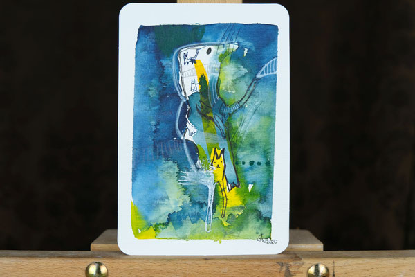 Litte Creatures No. 1 (verkauft) | 2020 | Mischtechnik auf Aquarellpapier |  14, 5 x 10,8 cm